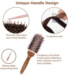 Blow Dry Round Hair Brush (2″ Mocha) with Boar Bristles for Thick & Coarse Back-Length Hair