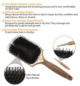 Paddle Brush with Natural Boar Bristles for Smooth & Shiny Hair