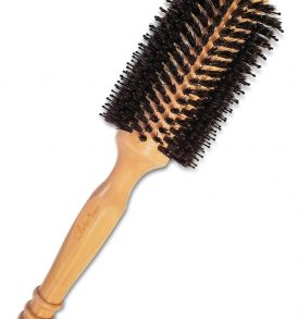 Boar Bristle Round Brush with Wooden Handle -2.4″ with Bristles (1.2″ Core) for Blow drying Medium Length Hair